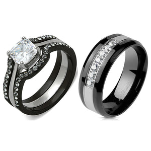 His Hers 4 PCS Black Cushion Cut CZ Promise Ring Mens 7 CZ Wedding Band