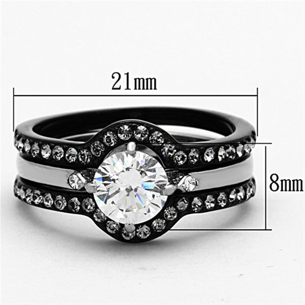 His Hers 4 PCS Black IP Stainless Steel Round Cut CZ Wedding Set Mens Matching Band - LA NY Jewelry