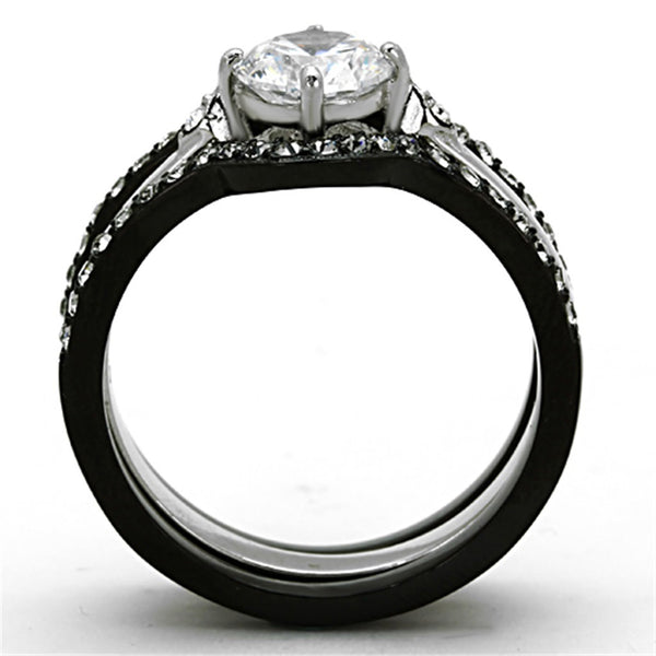 Couple Ring Set Womens Black Stainless Steel Promise Ring Mens 7 CZs Wedding Band - LA NY Jewelry