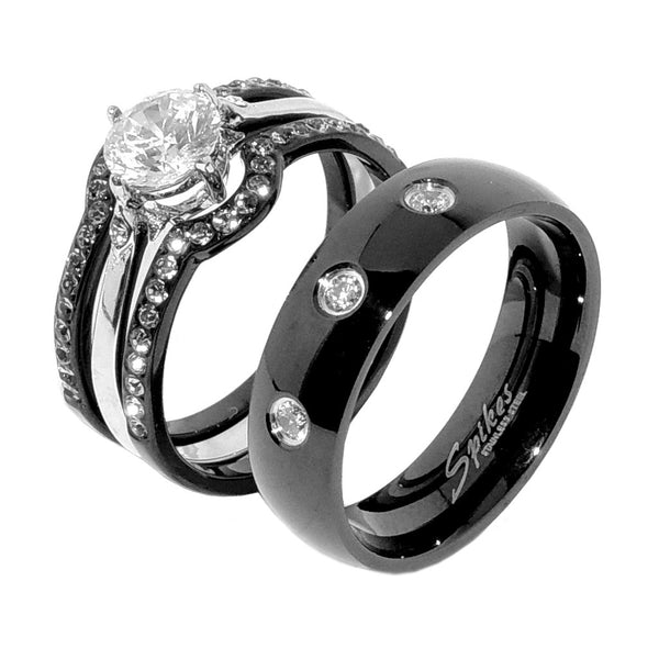 His Hers 4 PCS Black IP Stainless Steel Round Cut CZ Wedding Set Mens 3 CZ Matching Band - LA NY Jewelry