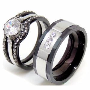 Couple Ring Set Women Black Stainless Steel Promise Ring Mens 3 CZs Wedding Band - LA NY Jewelry