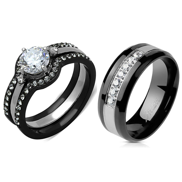 Couple Ring Set Womens Black Stainless Steel Promise Ring Mens 7 CZs Wedding Band