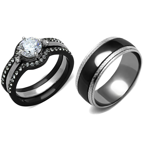 His Hers 4 PCS Black IP Stainless Steel Round Cut CZ Wedding Set Mens Matching Band