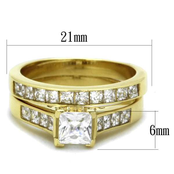 His Hers Couple 3 PCS 5x5mm Princess Cut CZ Gold IP Stainless Steel Wedding Set Mens Gold Band - LA NY Jewelry