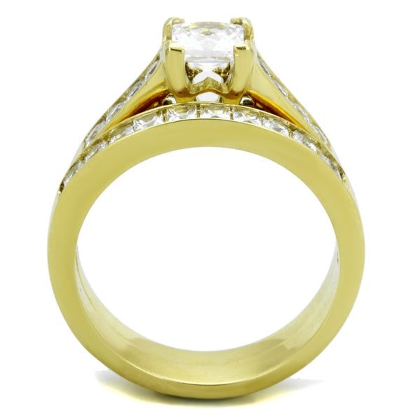 Couples Ring Set 14K Gold Plated 5mm Princess CZ Wedding Ring Mens Gold Plated Flat Wedding Band - LA NY Jewelry