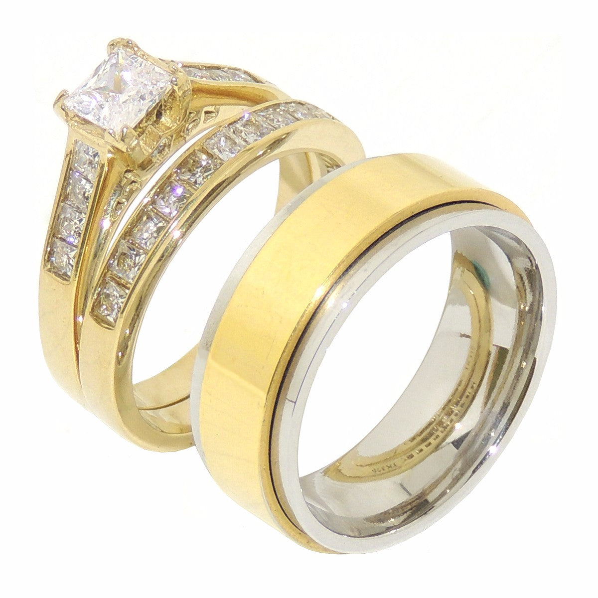 His Hers 5x5mm Princess CZ Gold IP Stainless Steel Wedding Set Mens Gold Spinning Band - LA NY Jewelry
