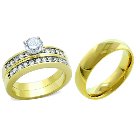 His Hers Couple 3 PCS 6x6mm Round Cut CZ Gold IP Stainless Steel Wedding Set Mens Gold Band