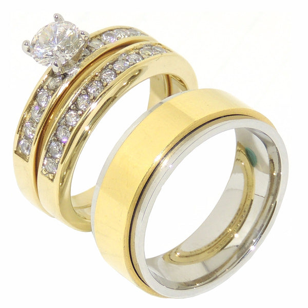Couple Ring Set 6x6mm Round CZ Gold IP Promise Ring Set Mens Gold Spinning Band - LA NY Jewelry
