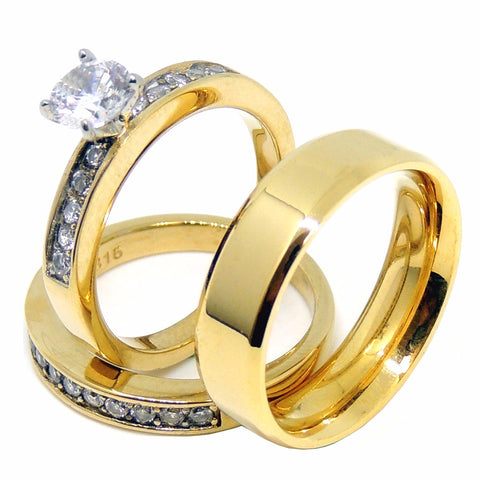 Couples Ring Set Womens Gold Plated 6mm Round CZ Ring Set Mens Gold Plated Flat Wedding Band - LA NY Jewelry