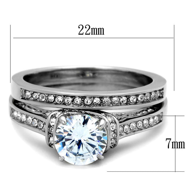 His Hers 3 PCS 7x7mm Round Cut CZ Womens Stainless Steel Wedding Ring Set Mens 9 Round CZ Band - LA NY Jewelry