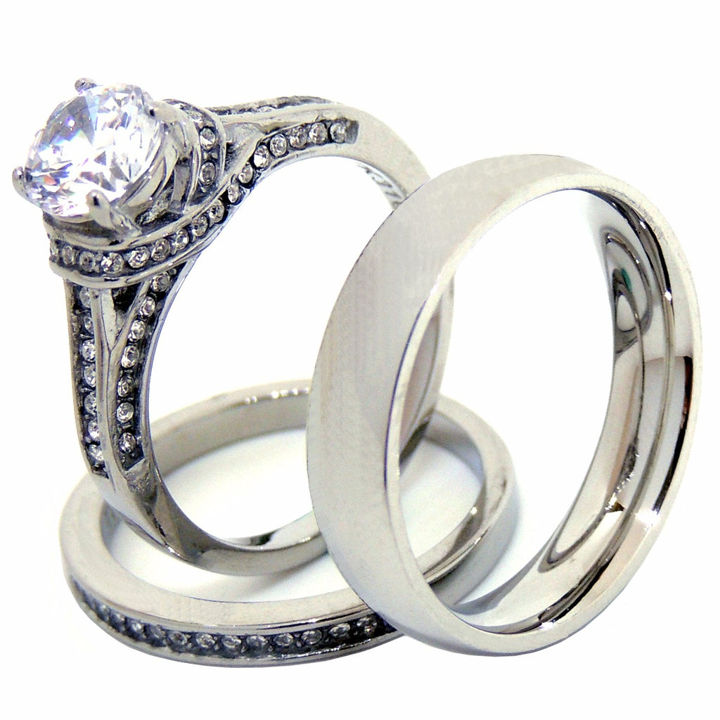 His Hers 3 PCS 7x7mm Round Cut CZ Womens Stainless Steel Wedding Ring Set  Mens Matching ...