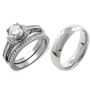 His Hers 3 PCS 7x7mm Round Cut CZ Womens Stainless Steel Wedding Ring Set Mens Matching Band