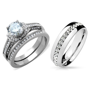 His Hers 3 PCS 7x7mm Round Cut CZ Womens Stainless Steel Wedding Ring Set Mens All Around CZ Band