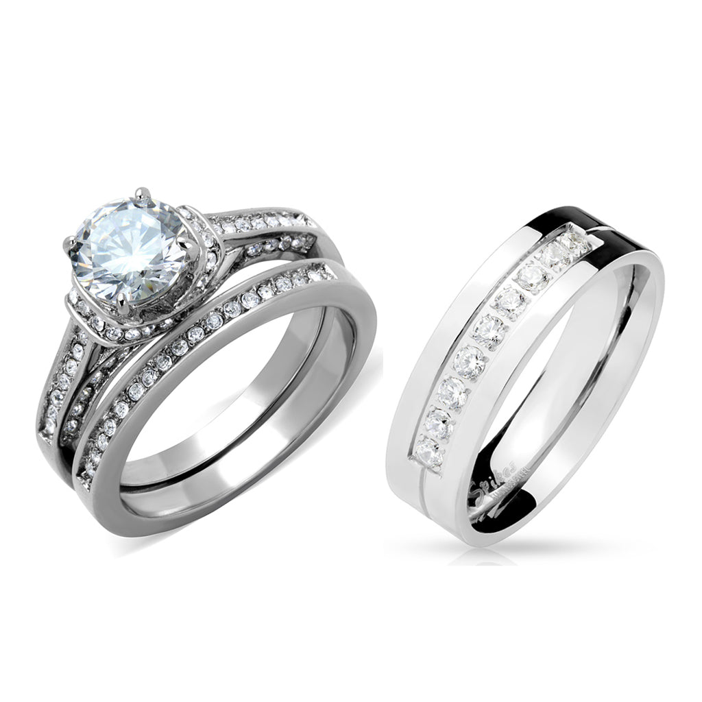 His Hers 3 PCS 7x7mm Round Cut CZ Womens Stainless Steel Wedding Ring Set Mens 9 Round CZ Band
