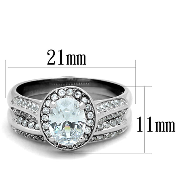 His Hers 3 PCS 8x6mm oVAL Cut CZ Womens Stainless Steel Wedding Ring Set Mens Matching Band - LA NY Jewelry