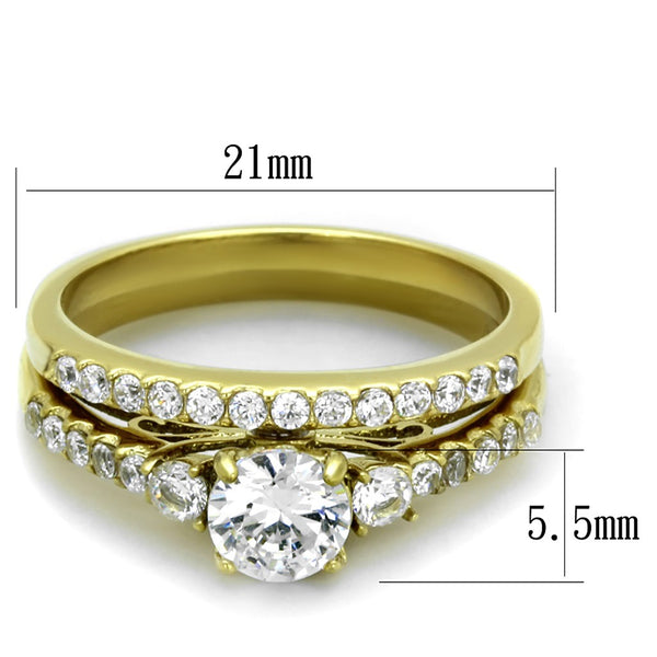 Couples Ring Set Womens Gold Plated 0.6 Carat Round CZ Ring Set Mens Gold Plated Flat Wedding Band - LA NY Jewelry