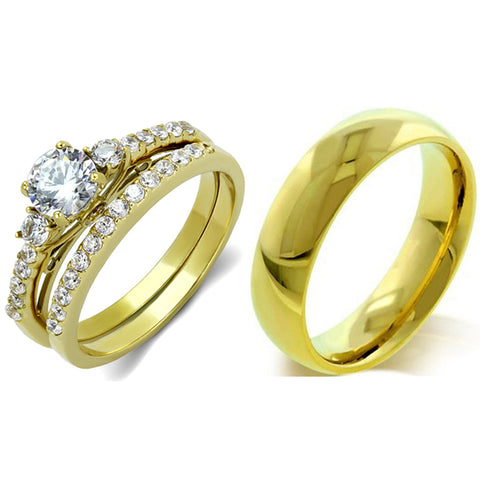 His Hers Couple 3 PCS 5x5mm Round Cut CZ Gold IP Stainless Steel Wedding Set Mens Gold Band
