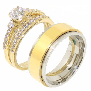 His Hers Couple 3 PCS 5x5mm Round Cut CZ Gold IP Stainless Steel Wedding Set Mens Gold Spinning Band - LA NY Jewelry