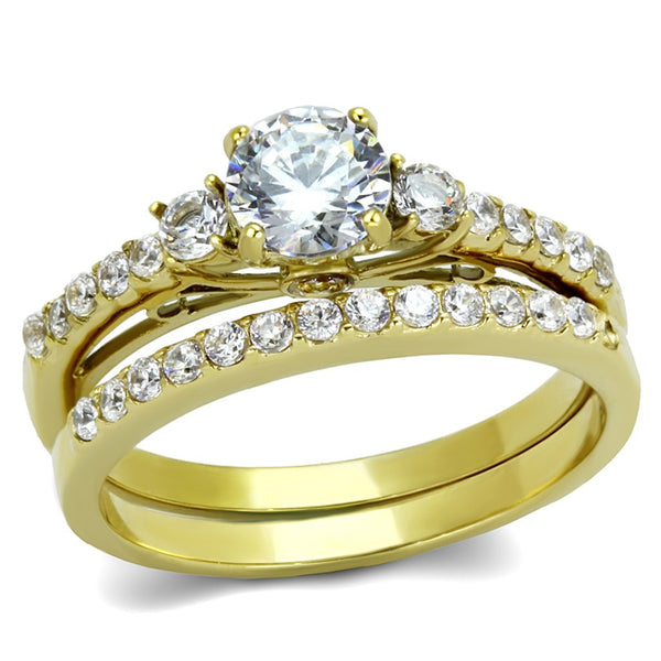 His Hers Couple 3 PCS 5x5mm Round Cut CZ Gold IP Stainless Steel Wedding Set Mens Gold Band - LA NY Jewelry