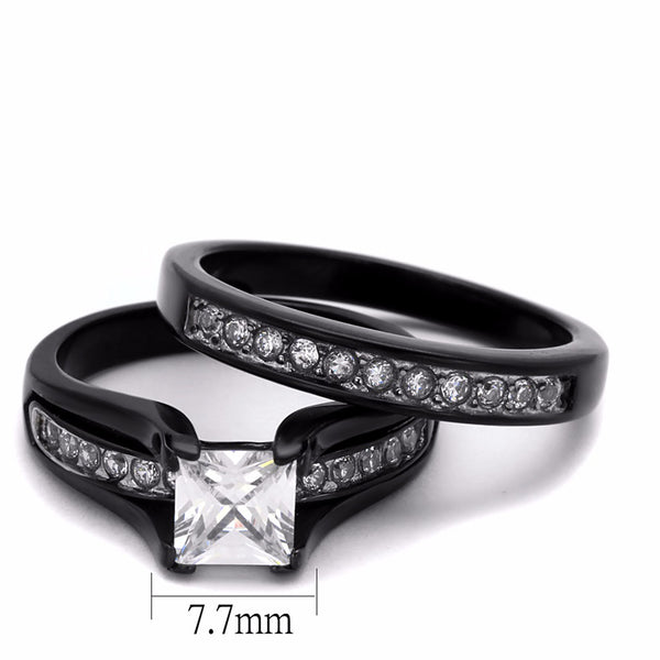 3 PCS Couple Black IP Stainless Steel 7x7mm Princess Cut CZ Engagement Ring Set Mens Spinning Band - LA NY Jewelry