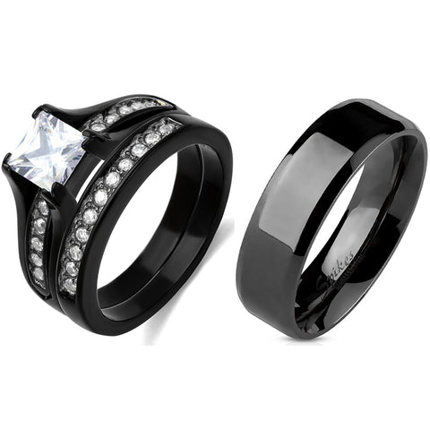Couple Ring Set Womens One Carat Princess CZ Black Stainless Steel Wedding Ring Set Mens Flat Band