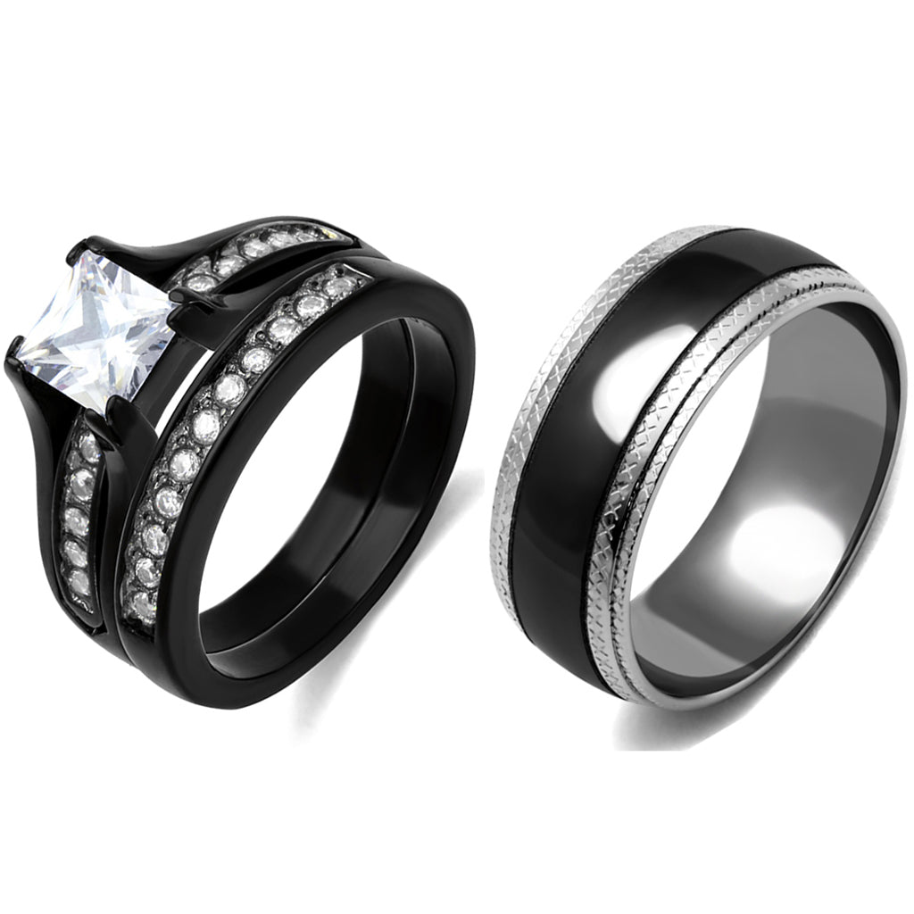 3 PCS Couple Black IP Stainless Steel 7x7mm Princess Cut CZ Engagement Ring Set Mens Matching Band