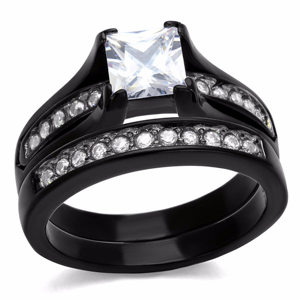 3 PCS Couple Black IP Stainless Steel 7x7mm Princess Cut CZ Engagement Ring Set Mens Matching Band - LA NY Jewelry