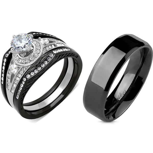4 PCS Couple Black IP Stainless Steel 6x6mm Round Cut CZ Engagement Ring Set Mens Flat Band