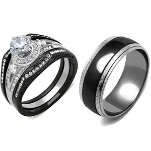 4 PCS Couple Black IP Stainless Steel 6x6mm Round Cut CZ Engagement Ring Set Mens Matching Band