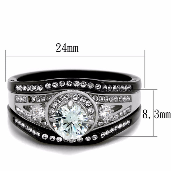 4 PCS Couple Black IP Stainless Steel 6x6mm Round Cut CZ Engagement Ring Set Mens 3 CZ Band