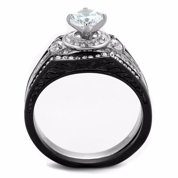 6x6mm Round CZ Black IP Stainless Steel Engagement 3 Ring Set - LA NY Jewelry