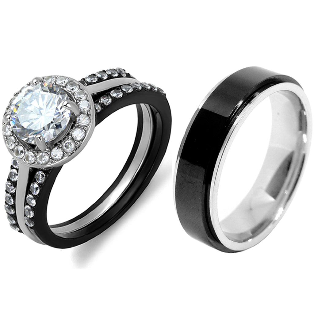 4 PCS Couple Black IP Stainless Steel 7x7mm Round Cut CZ Engagement Ring Set Mens Spinning Band