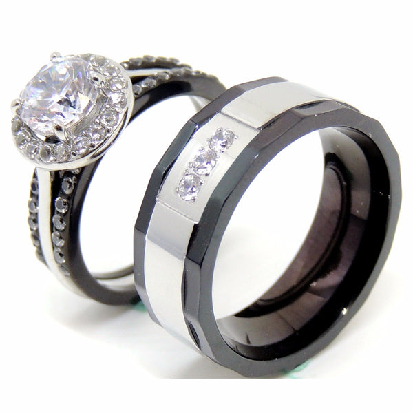 His Hers Ring Set Womens 1 Carat 7x7mm CZ Black Wedding Ring Mens Wedding Band w 3 CZ - LA NY Jewelry