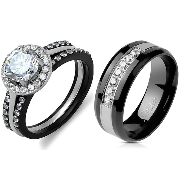 His Hers Ring Set Womens 1 Carat 7x7mm CZ Black Wedding Ring Mens 7 CZs Wedding Band