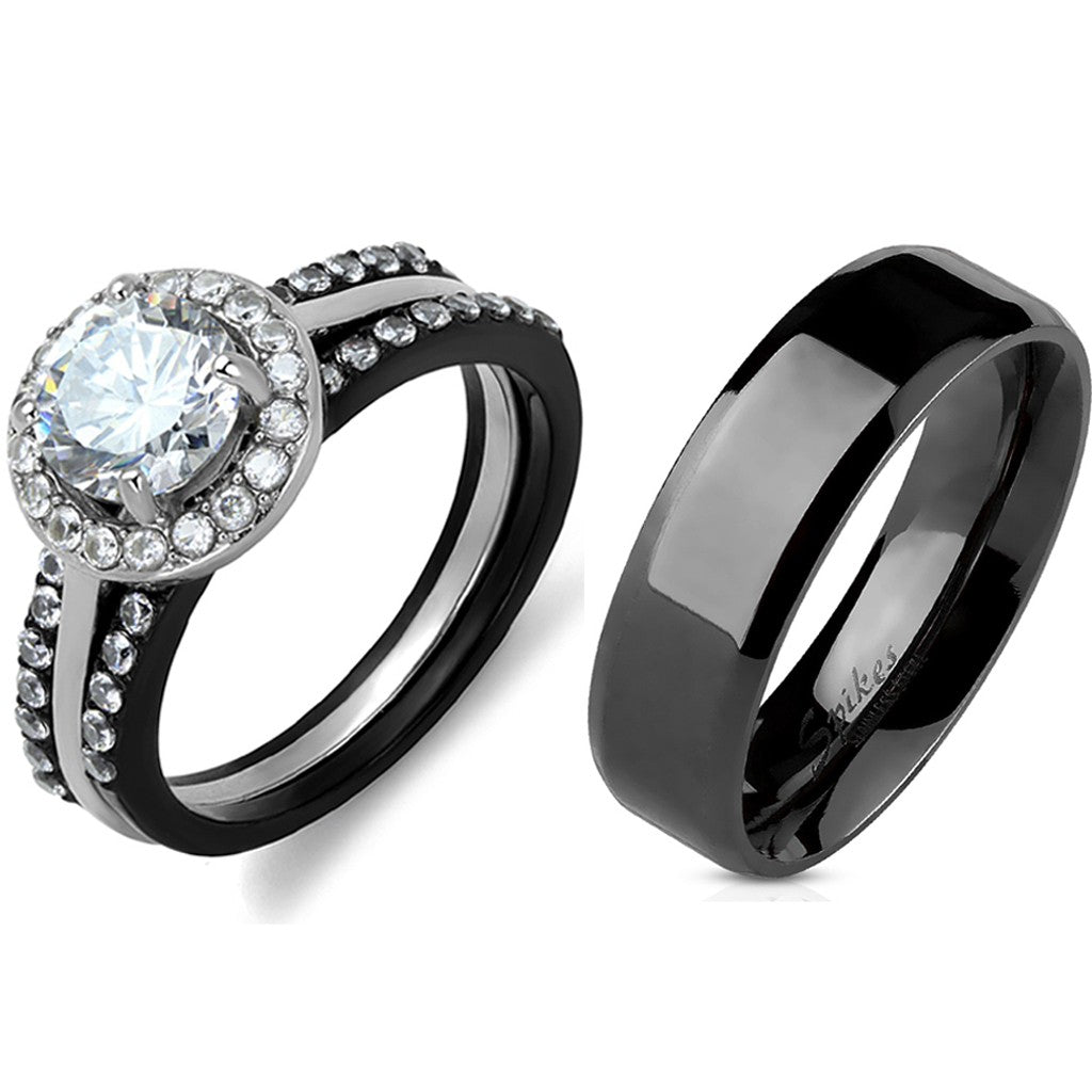 4 PCS Couple Black IP Stainless Steel 7x7mm Round Cut CZ Engagement Ring Set Mens Flat Band