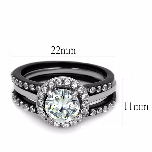 4 PCS Couple Black IP Stainless Steel 7x7mm Round Cut CZ Engagement Ring Set Mens 3 CZ Band - LA NY Jewelry