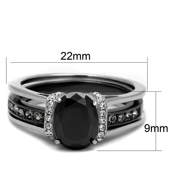8x6mm Black Oval Cut CZ Two-Tone IP Light Black Stainless Steel Ring Set - LA NY Jewelry