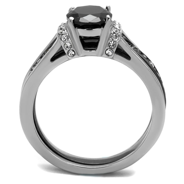 Couple Ring Set Womens Black Oval CZ Promise Ring Mens 3 CZ Wedding Band - LA NY Jewelry