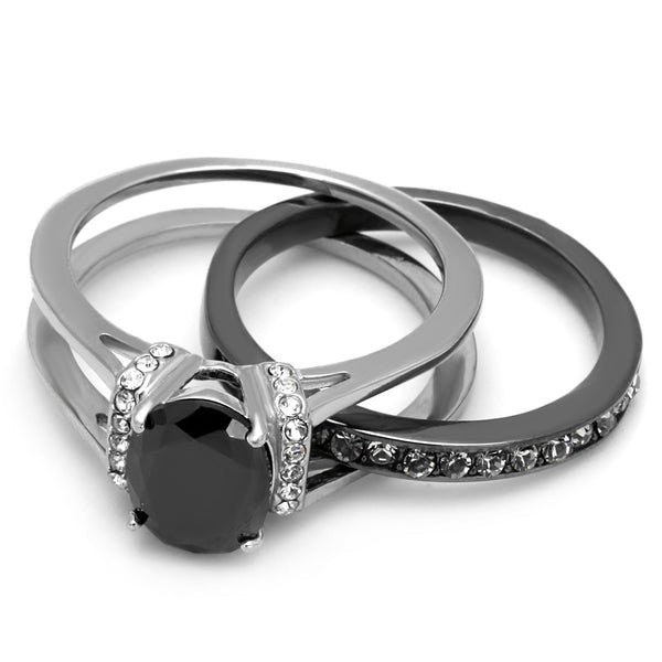 3 PCS Couple Black IP Stainless Steel 8x6mm Oval Cut CZ Engagement Ring Set Mens Spinning Band - LA NY Jewelry