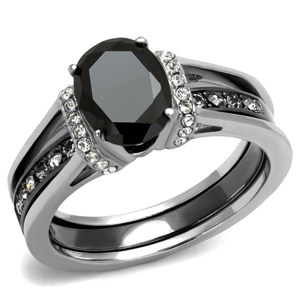 Matching Couple Ring Set Womens Black Oval CZ Black Wedding Ring Set Mens Two Tone Band - LA NY Jewelry