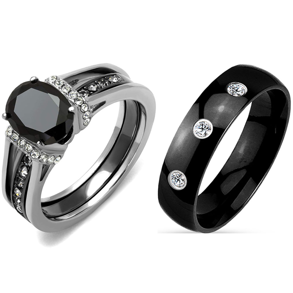 3 PCS Couple Black IP Stainless Steel 8x6mm Oval Cut CZ Engagement Ring Set Mens Band With 3 CZ