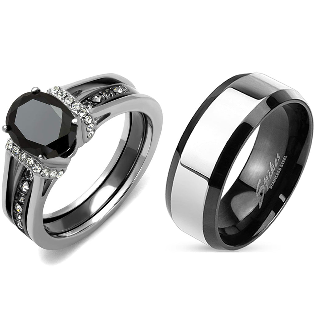 Matching Couple Ring Set Womens Black Oval CZ Black Wedding Ring Set Mens Two Tone Band