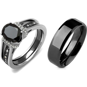 3 PCS Couple Black IP Stainless Steel 8x6mm Oval Cut CZ Engagement Ring Set Mens Flat Band