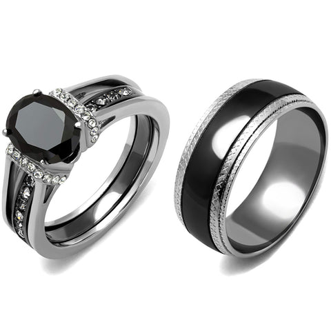 3 PCS Couple Black IP Stainless Steel 8x6mm Oval Cut CZ Engagement Ring Set Mens Matching Band