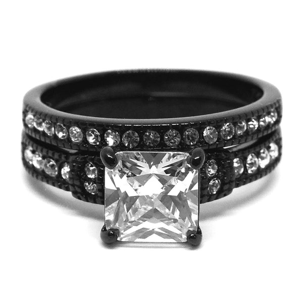 Couple Ring Set Womens Princess CZ Black Promise Ring Mens Wedding Band w/ 3 CZ - LA NY Jewelry