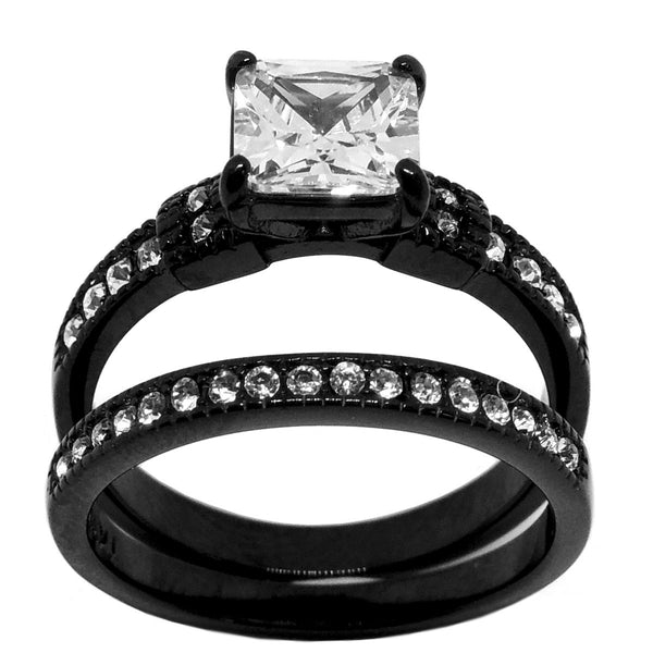 3 PCS Couple Princess Cut CZ Black IP Stainless Steel CZ Wedding Set/Mens Matching Spinning Band - LA NY Jewelry