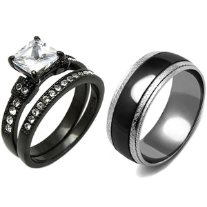 3 PCS Couple Princess Cut CZ Black IP Stainless Steel CZ Wedding Set Mens Matching Band