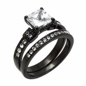 Womens 7x7mm Princess Cut CZ Black IP Stainless Steel Wedding Ring Set - LA NY Jewelry