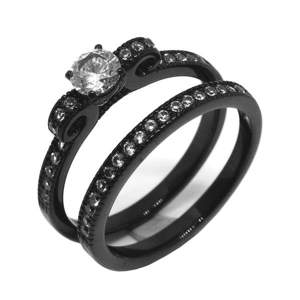 3 PCS Couple 5x5mm Round Cut CZ Black IP Stainless Steel Wedding Set Mens Matching Spinning Band - LA NY Jewelry