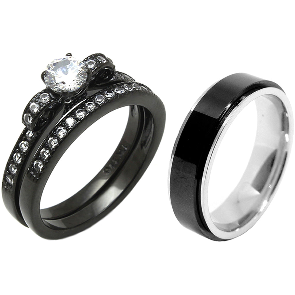 3 PCS Couple 5x5mm Round Cut CZ Black IP Stainless Steel Wedding Set Mens Matching Spinning Band